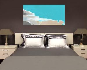 Slaapkamer met kunstschilderij Aruba.